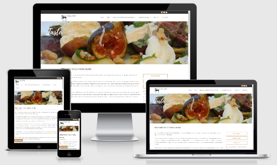 Mobile and Desktop views of the Le Cheval Blanc WordPress Website